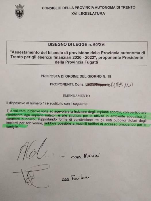 emendamento Marini Failoni su tariffe piscine